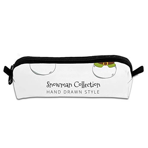 Donvoon Hand Drawn Snowman Character Pen Pencil Stationery Bag Makeup Case Travel Cosmetic Brush Accessories Toiletries Pouch Bags Zipper Resistance Carry Handle Power Lines Handbag