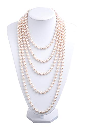 1920s Pearls Necklace Fashion Faux Pearls Gatsby Accessories Vintage Costume Jewelry Cream Long Necklace for Women (Nude-1) -