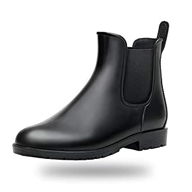 babaka Women Rain Boots Waterproof Ankle Garden Shoes Anti-Slip Chelsea Booties Black 5.5 B(M) US
