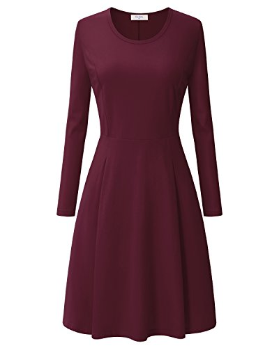 Round Neck Dress for Women,Ca Kra Stylish Simple Elegant Maroon Dress for Women (Wine Red, XL) (Round Pleated Skirt)