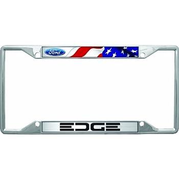 Ford Edge 2012-16 Black Coated Brass Metal License Plate Frame Holder