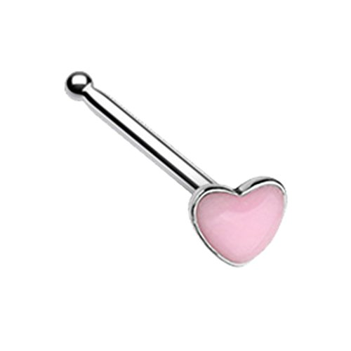 Glow in the Dark Heart Steel Nose Ring Bone Stud 20G -