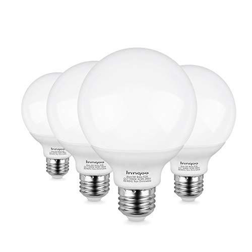Innqoo G25 LED Bulb, Vanity Lights Bulb E26 Base, Equivalent 50W Incandescent Bulb Daylight White 5000K for Bathroom Makeup Mirror Lamp,Non-dimmable Globe Led Light Bulbs 4 Packs