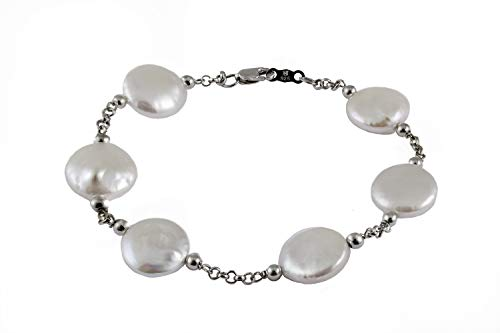 Handpicked AAA+ 12-13mm Coin White Freshwater Cultured Pearl 925 Sterling Silver Stationary Bracelet 7.5