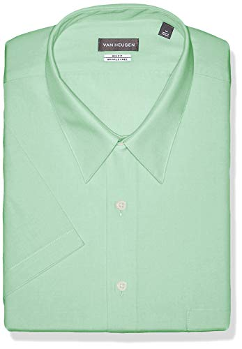 Van Heusen Men's FIT Short Sleeve Dress Shirts Poplin Solid (Big and Tall), Mint Julip, 20