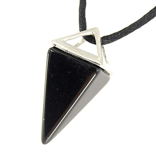Onyx Triangle Pendant - Celestial Collection - Large Pyramid Pendulum Triangle Point, Black Onyx Agate Pendant 1.38 inches (35mm) - 20-22 Inch Adjustable Black Cord - Crystal Gemstone Collectibles Carved Necklace Handmade