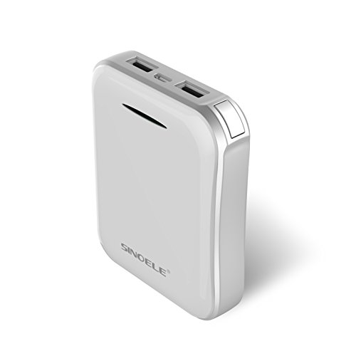 SINOELE 10000mAh Power Bank QC2.0 Phone Portable External Battery Charger for iPhone, Samsung, and More (White)