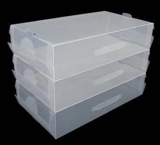 3 x transparente de plástico apilables para mujer/para hombre zapatos cajas para almacenaje con asa de transporte: Amazon.es: Hogar