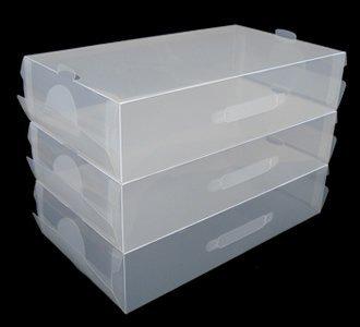 3 x transparente de plástico apilables para mujer/para hombre zapatos cajas para almacenaje con