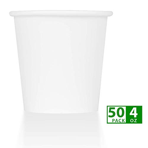 ZenCo Compostable Paper Cups - 50 Pack 4oz Hot/Cold Beverage Disposable Drinking Cup White - Eco Friendly Cups for Office, Catering, Picnics or Birthdays (50 Count, 4 Ounce)