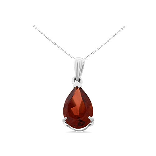 14K White Gold 6 x 8 mm. Pear Shaped Genuine Natural Garnet Pendant With Square Rolo Chain Necklace (Pendant Square Garnet)