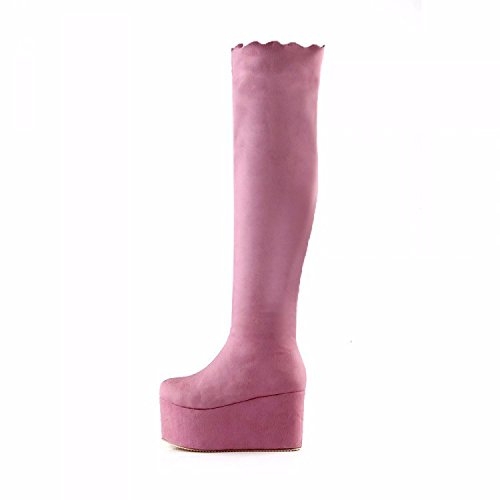 thick Women's boots Boots Pink Pink RFF soled Shoes high Suede knee and boots 4zwqxdPq6