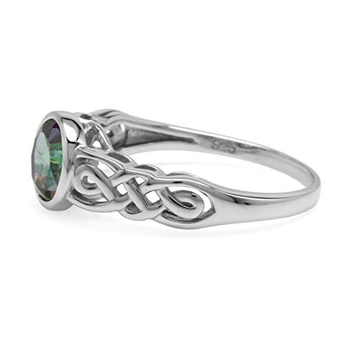 1.66ct. Mystic Fire Topaz White Gold Plated 925 Sterling Silver Celtic Knot Solitaire Ring Size 7 ()