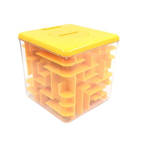 Hot Sales! Kasien Cube Puzzle Toy, Money Maze Bank Hand Game Labyrinth Pyramid Brain Game Challenge Fidget Toys Gift for Kids, Coin Cash Bill Storage Box (Yellow)