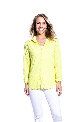 - Pleats Collection Women's Long Sleeve Crinkle V Neck Roll up Sleeve Blouses Pocketable Tops,Blazing Yellow,XL