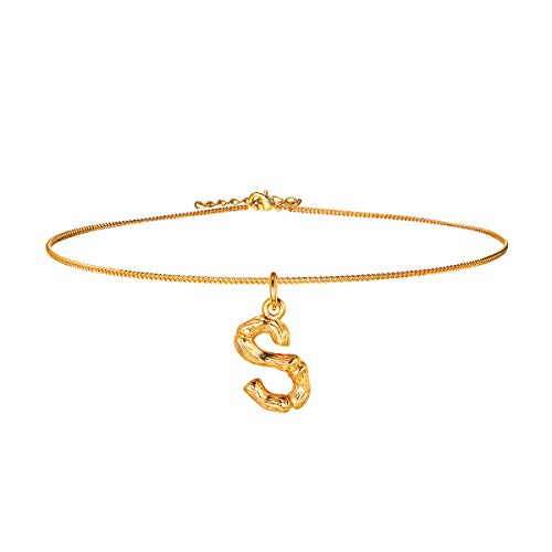 Bamboo Initial Choker Collar Necklace,18k Gold Plated DIY Women Girls Party Fashion Jewelry,14+2 Inches Resizable Chain for Layering, 26 Charm Small Tiny Capital Alphabet Letter Pendant Necklace(S)