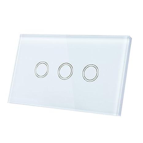 Interruptor eDealMax tacto ligero de la pared, panel de lujo del vidrio cristalino, CA