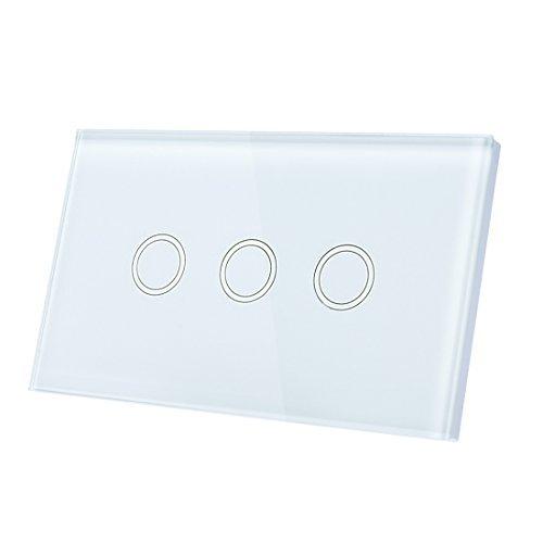 Interruptor eDealMax tacto ligero de la pared, panel de lujo del vidrio cristalino, CA 110-240V 1 Camino 3 Banda tctil inteligente interruptor WHITE EE.UU.