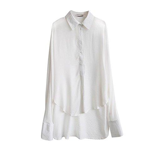 (ワンース) Wansi カーディガン レディース シャツ ロング丈 長袖 無地 前短後長 羽織 着痩せ ゆる カジュアル ホワイト