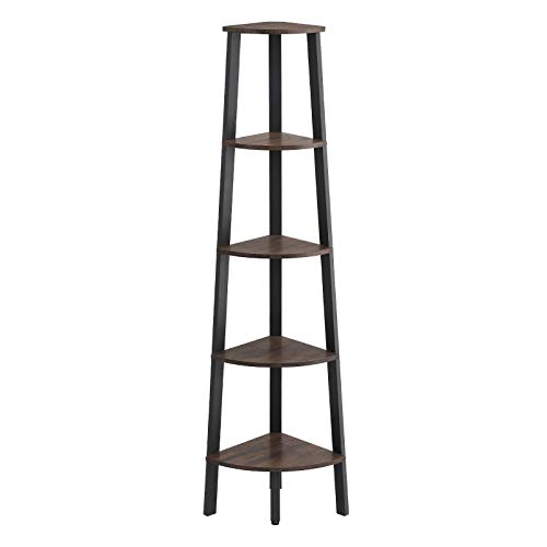 VASAGLE Industrial Corner Shelf, 5-Tier Ladder Bookcase, Storage Rack, with Metal Frame, for Living Room, Home, Office, Rustic Dark Brown ULLS35BF (Vintage Corner Shelves)