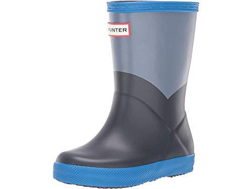 Hunter Kids Unisex Original Kids' First Classic Rain Boot (Toddler/Little Kid) Gull Grey/Bucket Blue/Navy 9 M US Toddler