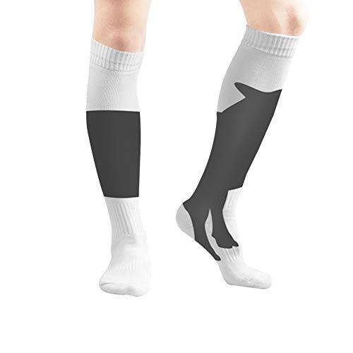 Sheep Icon Lamb Sign Isolated Animals Wildlife Men and Women Compression Knee Socks High Fitness Novelty Stockings 50Cm Stylish Design
