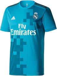 Adidas Mens Real Madrid 17/18 3Rd Replica Jersey Blue Grey M