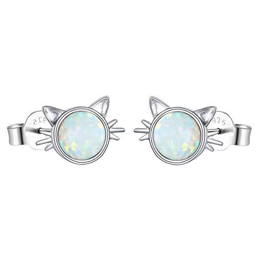 (Yearace Hypoallergenic 925 Sterling Silver Created Opal Cat Stud Earrings Cute Kitten Earrings Gift for Women Teen Girls Cat)
