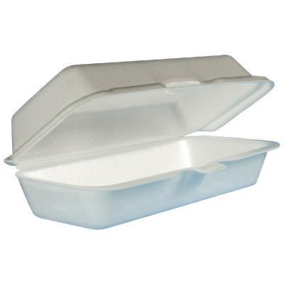 Foam Food Container - DCC72HT1 - Foam Hinged Container Hot Dog White, 4/125