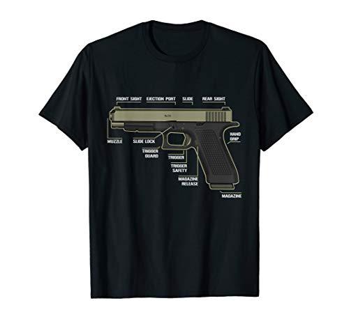 Anatomy of Handgun Pistols T Shirt Handgun American Flag Tee