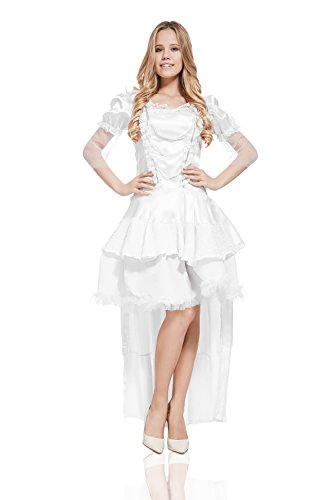 Adult Women White Queen Ice Snow Princess Costume Cosplay & Role Play Dress Up (X-Small/Small, (Ice Princess Dance Costume)