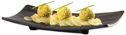 Aps Paderno World Cuisine Raised Black Melamine Sushi Tray, 8-7/8-Inch by 3-7/8-Inch Black Sushi Tray