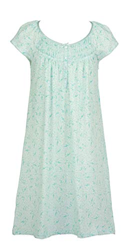 Miss Elaine Flutter Sleeve Short Silkyknit Nightgown in Turquoise Floral (Turquoise Floral, Large) ()