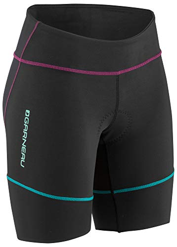 Louis Garneau Women's Tri Comp Triathlon Shorts, Black/Purple/Green, ()
