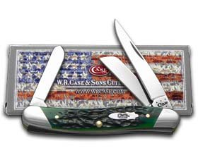 Case Cutlery 70492 Medium Stockman Pocket Knife with Slanted Bolster and Stainless Steel Blades, Hunter Green Bone