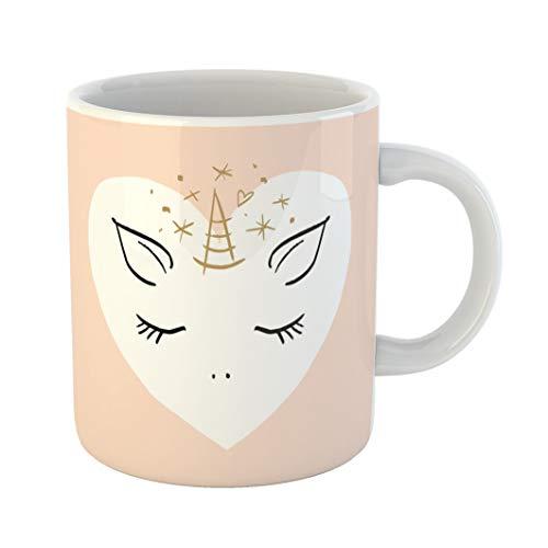 Emvency 11 Ounces Coffee Mug Pink Adorable Cartoon Cute Girl Unicorn Pastel Nursery It May Be Badge Patch Wall Animal Baby Babyish White Ceramic Glossy Tea Cup gift - Pastel 11 Ounce Mug