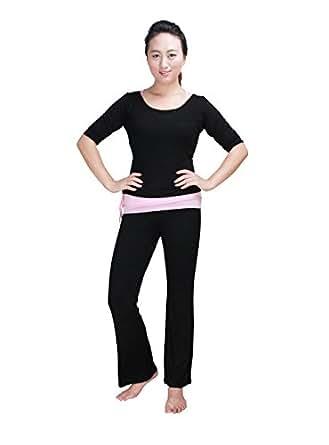 Baihong Women's Soft Yoga/Sports Clothes Comfortable Pant Set (3 Pieces) Short Sleeve XXL Black