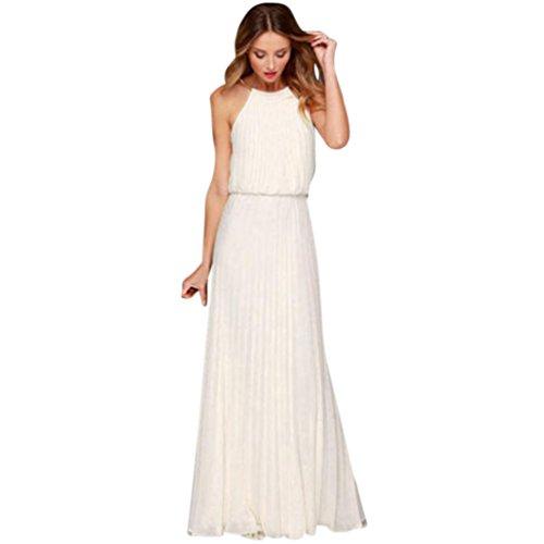 Besooly Women Prom Evening Dress Sleeveless Chiffon Long Dress Wedding Dress Elegant Ruffles Long Maxi Dress (XL, ()