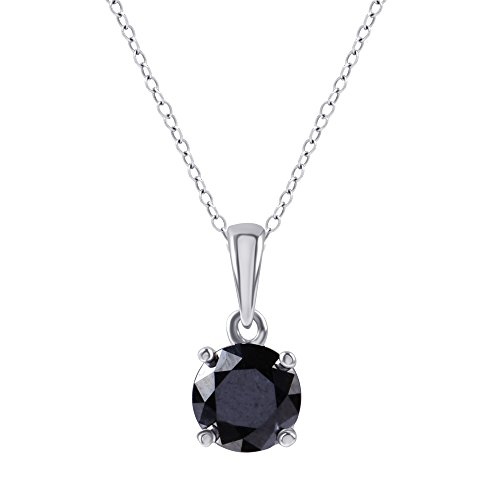 Sterling Silver Enhanced Black Round Diamond Solitaire Pendant Necklace(1/2cttw, Black Color, I3 Clarity), 18