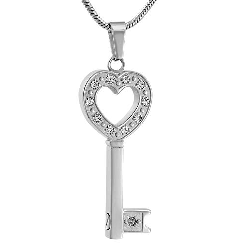 Metal Color: Pendant with Chain Davitu IJD9561 Hollow Heart Key Memorial Urn Necklace Stainless Steel Funeral Keepsake Cremation Ashes Jewelry with Clear Crystal