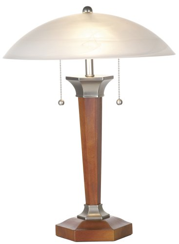 Walnut And Nickel Deco Dome Table Lamp (Lamp Table Nickel Walnut)