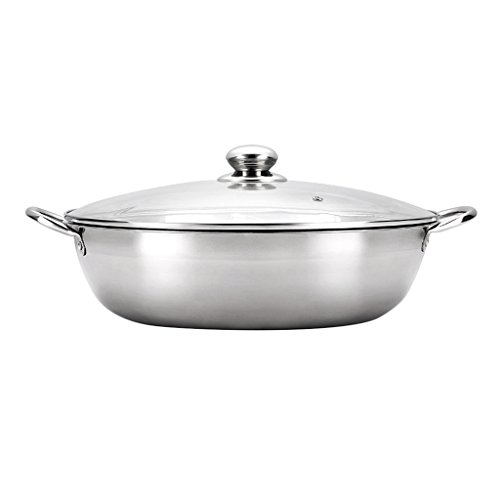 e65ecab6e19f Homyl Stainless Steel Cookware Shabu-Shabu Twin Hot Pot Induction  Compatible - No separator