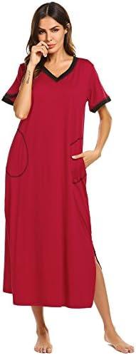 Ekouaer Loungewear Long Nightgown Women's Ultra-Soft Nightshirt Full Length Sleepwear with Pocket