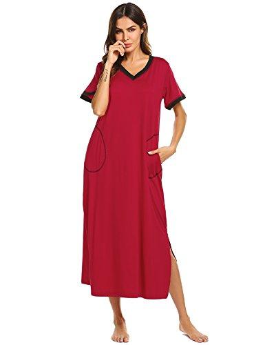 Ekouaer Womens Sleepshirts Long Night Gown Loungewear (Wine Red, - Sleepshirt Long