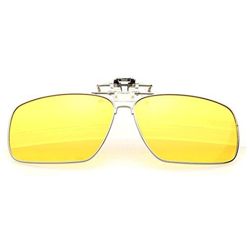 Yefree sol Unisex gafas Clip polarizadas up sol Metal rectangulares Amarillo Clip polarizado gafas en de Flip de rXrqTxwv
