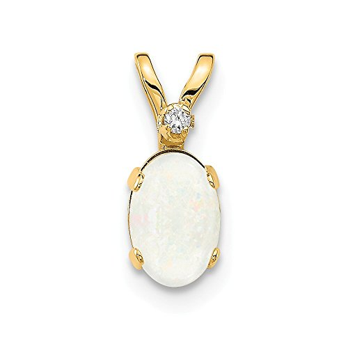 14k Yellow Gold Diamond Opal Birthstone Pendant Charm Necklace October Oval Fine Jewelry Gifts For Women For Her ()