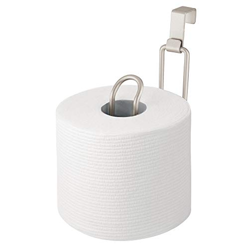 mDesign Metal Over The Tank Toilet Tissue Paper Roll Holder Dispenser and Reserve for Bathroom Storage and Organization - Hanging, Holds 1 Roll - Satin