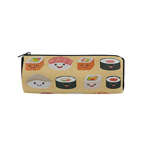 Cute Tasty Food Sushi Students Super Large Capacity Barrel Pencil Case Pen Bag Cotton Pouch Holder Makeup Cosmetic Bag for Kids ()