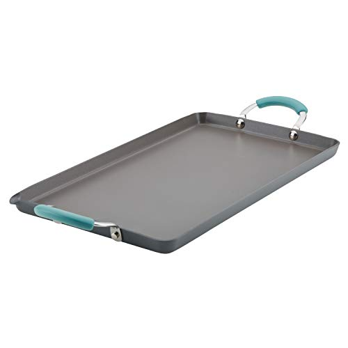 Rachael Ray Hard Anodized Nonstick 18-Inch by 10-Inch Double Burner Grill with Agave Blue Handles Anodized Double Burner Grill Pan