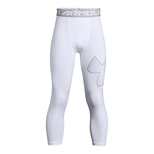 Under Armour Boys Heatgear Armour Logo 3/4 Leggings, White (101)/Overcast Gray, Youth Large ()